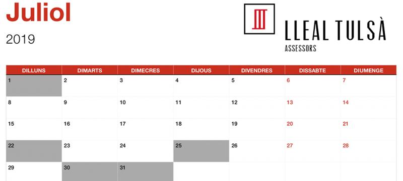 Calendari fiscal juliol 2019